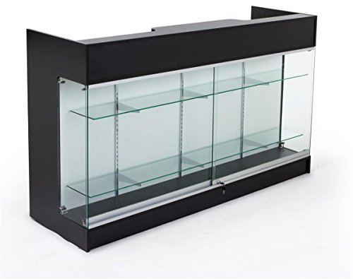 Cash Wrap Counters - Displays2go Sales Counter with Glass Shelves, Tempered Glass, Laminated Particle Board, Locking Drawers – Black (MRCLSC72BK)