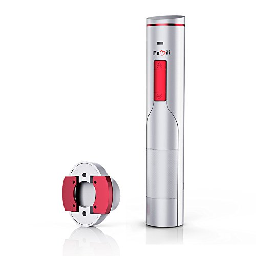 - Famili FM700WR Electric Wine Opener Rechargeable Corkscrew Wine Bottle Opener with Foil Cutter, Opens up to 180 bottles with one charge, Pearl White