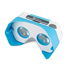 DSCVR Headset inspired by Google Cardboard v2 IO 2015 VR Gear for Apple iPhone and Android Smartphones - Google WWGC Certified Virtual Reality Viewer - Blue