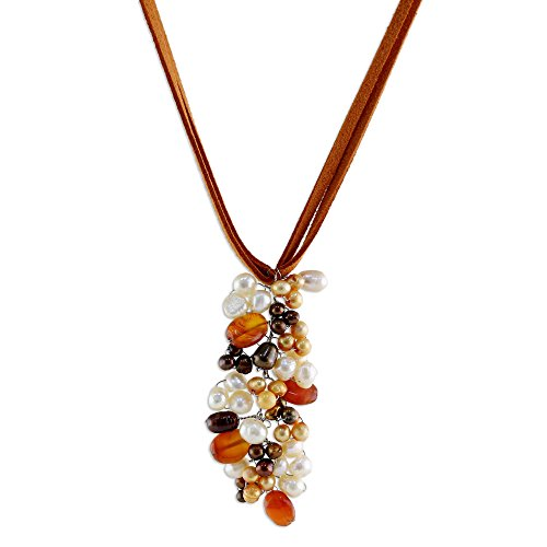 NOVICA Carnelian Cultured Freshwater Pearls Silver Plated Necklace, Fascination'
