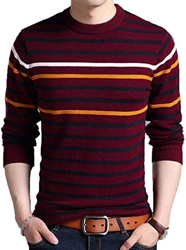 Moda męska paski okrągły dekolt Jumper ciepła Chunky sweter dziergany sweter Top chłopcy Classic Multicolor sweter z dzianiny chłopięcy (kolor: czerwony, rozmiar: 2XL): Odzież