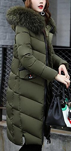 Long Jacket Green Womens Sleeve Warm Hooded Color Faux UK Army Down Fur Collar today Winter soldi OwYWZH