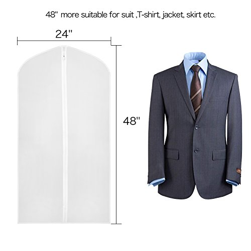 a2794bcfe70 Zilink Garment Bags for Storage 48 inch Dust-Proof Suit Cover with Sturdy  Zipper (