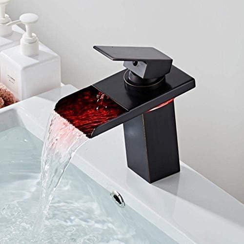 BZM-ZM タップタップ蛇口のLED蛇口滝の蛇口真鍮流域の蛇口の浴室のミキサーのタップのデッキは流域シンクミキサータップをマウント