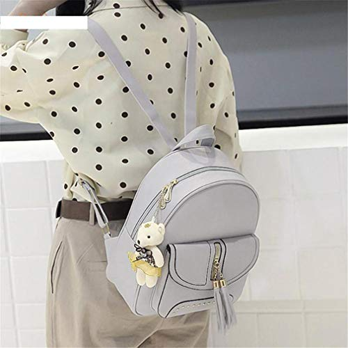 Gray Gray Composite 6 12 Bags 3Pcs Backpack Leather Lady PU w4ZUq