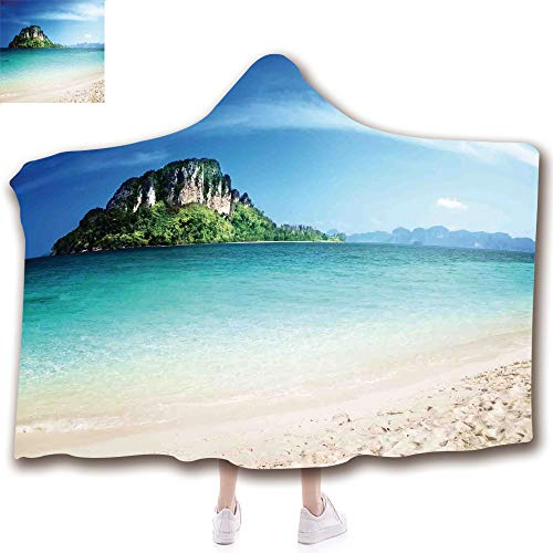 - scocici Fashion Blanket Ancient China Decorations Blanket Wearable Hooded Blanket,Unisex Swaddle Blankets for Babies Newborn by,The Crystal Sea Water Tropic Island Scenery,Adult Style Children Style