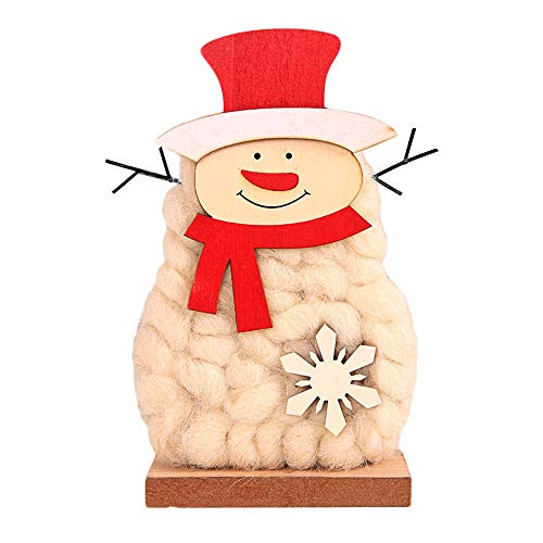 - Pausseo Wooden Wool Felt Santa Snowman Snowflake Santa Claus Xmas Tree Bell Window Decorative Ornaments The Mall Hotel Restaurant Show Merry Christmas Home Decor White Wool Felt Deer Baby Doll Toy (M)