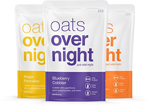 Oats Overnight Plant Based - Premium High-Protein, Low-Sugar, Gluten-Free (2.6oz per pack) (12 Pack Variety)
