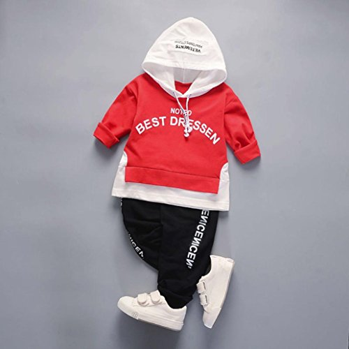 Omiky® 2Pcs Säuglingskleinkind-Baby-Jungen-Mädchen-Kapuzenpulli Tops + Hosen-Ausstattungs-Kleidung-Satz Rot