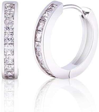 Exquisite Dazzling Swarovski Single Row White Sapphires Set in White Gold Earrings- Durable and Elegant