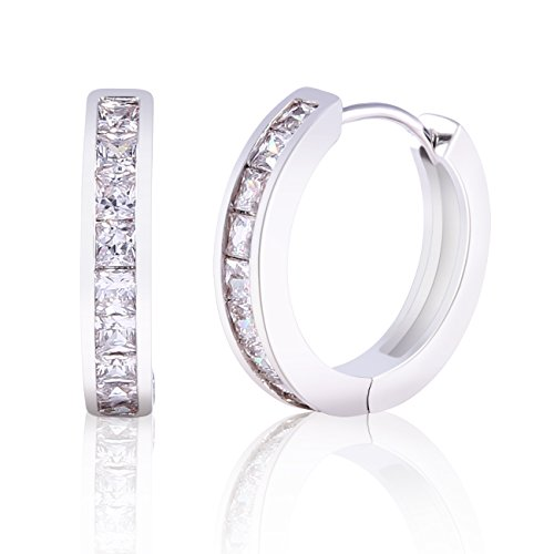 [Exquisite Dazzling Swarovski Single Row White Sapphires Set in White Gold Earrings- Durable and Elegant] (White Gold Silver Hoop)