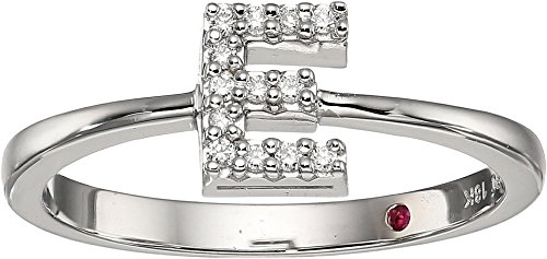 Roberto Coin White Ring (Roberto Coin Women's Tiny Treasure Initial E Love Letter Ring White Gold 6 1/2)