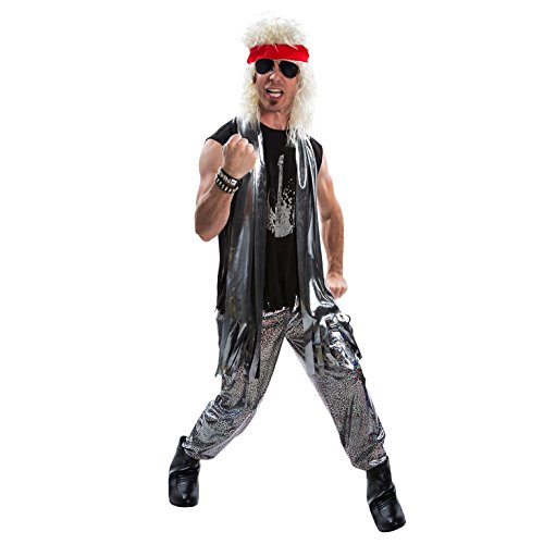 Mens 80s Glam Rock Costume Heavy Metal Rocker Big Hair 1980s Adult Fancy Dress Silver -