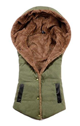 Angelspace Parka Cardigan Accogliente Giù Militare Calde Solido Donne Incappucciati Verde Delle Gilet Tasche qSwTqZ
