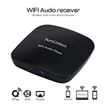 CkeyiN Wi-Fi Audio Receiver Wireless Multi-room Music Streamer Airplay DLNA QPlay Music Receiver Work with IOS, Android, PC