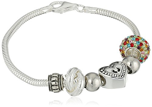 CHARMED BEADS Sterling Silver Always My Mom Forever Simulated Gemstone and Bead Bracelet, 7.5