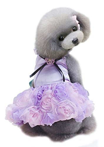 Freerun Puppy Dog Rose Flower Romantic Princess Party Wedding Dress Clothes Tutu Shirts - Purple, XL