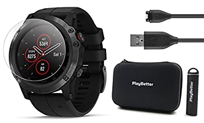 Garmin Fenix 5X Plus+ Sapphire Bundle with Screen Protectors, PlayBetter Portable Charger & Protective Case | Multisport GPS Watch, TOPO Maps, Garmin Pay, Music