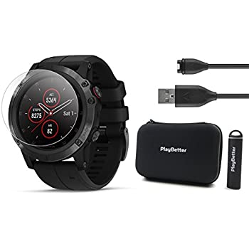 Garmin Fenix 5X Plus+ Sapphire Bundle with Screen Protectors, PlayBetter Portable Charger & Protective Case | Multisport GPS Watch, TOPO Maps, ClimbPro, ...