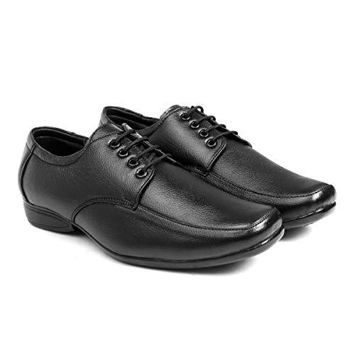 BXXY Men's Black Leather Office Wear Formal Shoes