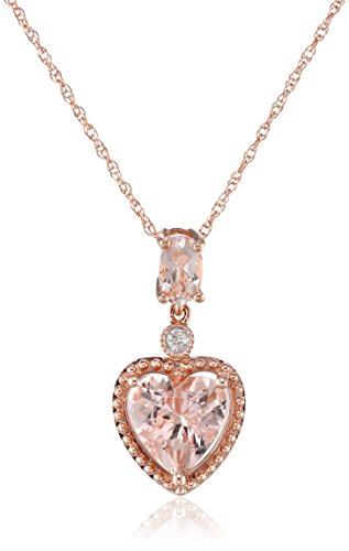 10k Rose Gold Morganite and Diamond Heart Pendant Necklace, (0.01 Cttw, G-H Color, I2-I3 Clarity), 17""