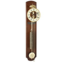 Hermle MICHELLE Skeleton Wall Clock 70992N40711 with Mechanical 8-Day Movement and Passing Bell Strike on The Hour | Walnut Finish and Wrought Iron