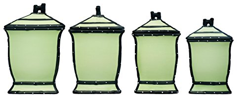 Tuscany Pistachio Green, Ruffle 4-Piece Canister Set, 85401 by (Green Canister)