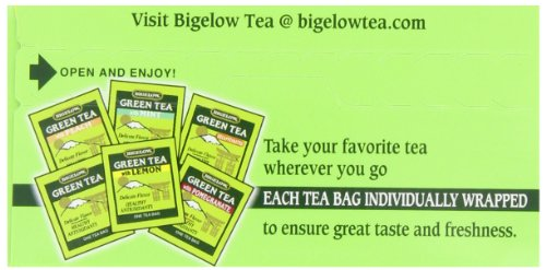 Bigelow 6 assorted green tea bags, 18-count box (pack of 6), caffeinated green tea, 108 tea bags total 6 healthy antioxidants: enjoy the health benefits of green tea with this delightful variety pack, containing: classic green tea, green tea with peach, green tea with lemon, green tea with mint, decaffeinated green tea, and green tea with pomegranate. Individually wrapped: bigelow tea always come individually wrapped in foil pouches for peak flavor, freshness, and aroma to enjoy everywhere you go! Gluten -free, calorie-free, & kosher certified; bigelow tea delivers on all the health benefits of tea. Try every flavor: there's a bigelow tea for every mood and every time of day. Rise and shine with english breakfast, smooth out the day with vanilla chai, get an antioxidant boost from green tea, or relax & restore with one of our variety of herbal teas.