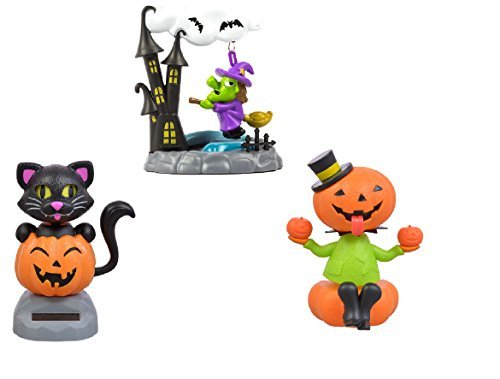 Halloween Solar Powered Dancing Moving Pumpkin Witch Cat 3 Piece Set]()