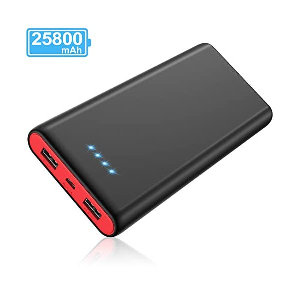 Portable Charger Power Bank 25800mAh [2019 Newest Black-Red Fashion Design] High Capacity External Battery Pack with LED Status Indicator, 2 USB Ports Power Bank for Smart Phones,Tablet and More