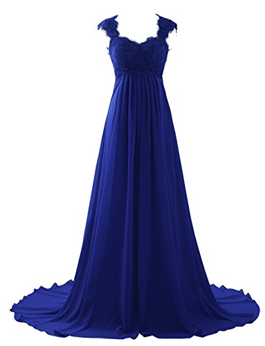 Erosebridal Elegant Lace Chiffon Prom Dress Gowns Plus Size Wedding Dress For Women Size 28w Royal Blue