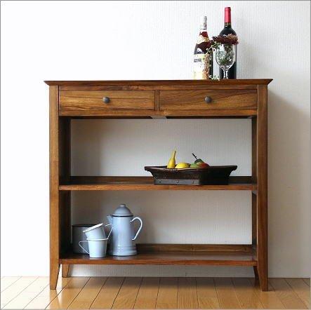 シェルフ 収納棚 リビング キッチン 無垢材 家具 本棚 おしゃれ 引き出し チークコンソール2ドロワー [wat7712] B01G4UJ5VE