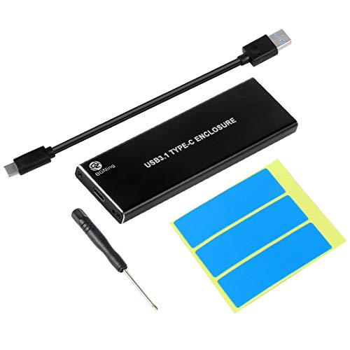 BGNing NVMe PCIE USB3.1 HDD Enclosure M.2 to USB Type C 3.1 M Key SSD Hard Disk Drive Case External Mobile Box (Black)