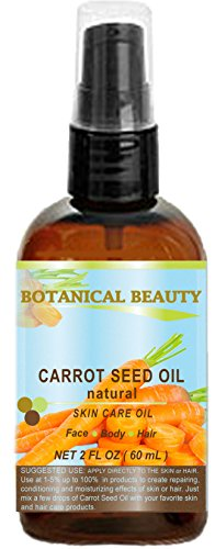 CARROT SEED OIL 100 % Natural Cold Pressed Carrier Oil. 2 Fl.oz.- 60 ml. Skin, Body, Hair and Lip Care. One of the best oils to rejuvenate and regenerate skin tissues. by Botanical Beauty