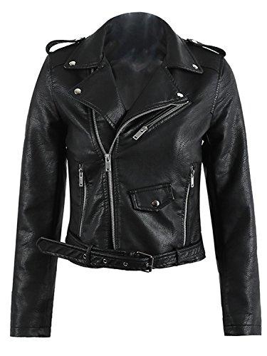 Simplee Zipper Apparel Hooded Outwear Jackets Coat Short Fitted Black Style Leather Women's Biker rrqIp