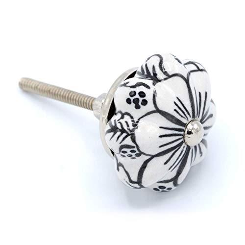 Coco & Care 6pc. Black and White Ceramic Knobs | Hand Painted | Pumpkin | Cabinet Drawer | Kitchen | Dresser | Hardware | Vintage | Antique