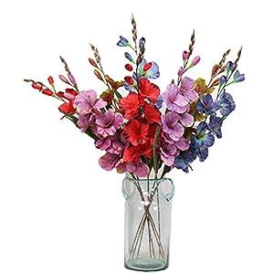 Elibone Simulation Autumn Gladiolus Orchid Artificial Flower Plant Wedding Festival Celebration Home Potted Fake Flower Decoration 18