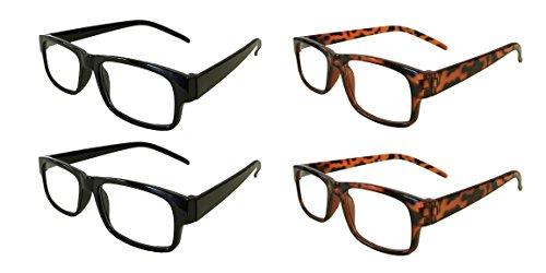 Mr. Reading Glasses [+4.00] Black and Tortoise Plastic Frame Unisex 4 Pack of Reading Glasses - 2 Black / 2 Tortoise - (+4.00) (Glasses Reading Assortment)