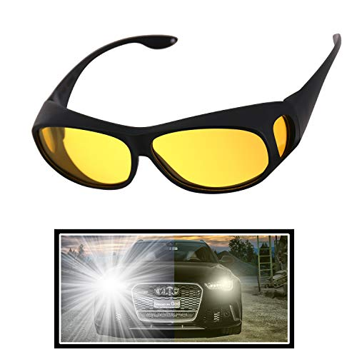 GLTECK Night Driving Glasses, Anti Glare Night Vision Glasses HD Polarized Yellow Tint Fit Over Wrap Around Prescription Eyewear for Men Women (Best Tint For Prescription Sunglasses)