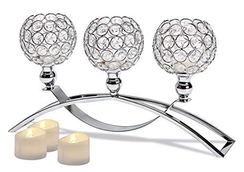 Manvi Crystal Candle Holders, 3-Candles Silver Candlestick Holders/Candelabras for Wedding Dinning Room Table Centerpieces Decor,Christmas Housewarming Gifts ()