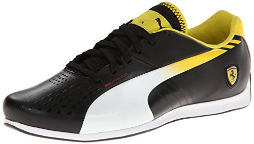 PUMA Men's Evospeed 1.3 Lo Ferrari Shoe,Black/White/Vibrant Yellow,12 M - Black And Ferrari Yellow