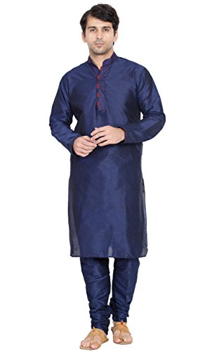 Kurta Pajama Men Indian Long Sleeve Shirt Black Designer Traditional Casual Wear Outfit -M by SKAVIJ