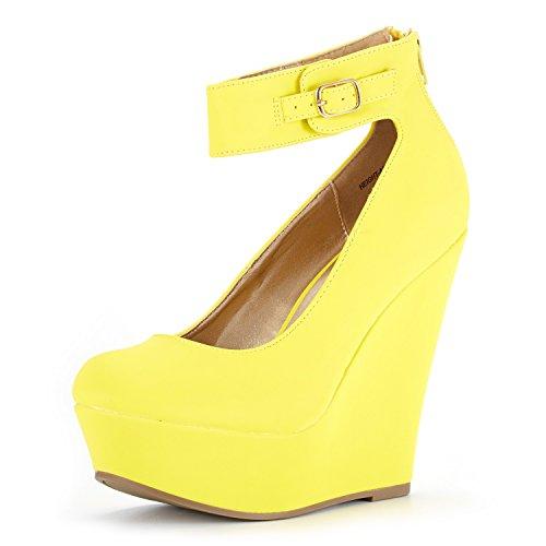 DREAM PAIRS Women's Height-Ankle Yellow Nubuck Elegant Ankle Strap Rear Zipper Closure Wedge Heel Platform Pumps Shoes Size 5 B(M) US ()