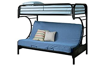Futon Bunk Bed   Twin Over Double (Black)
