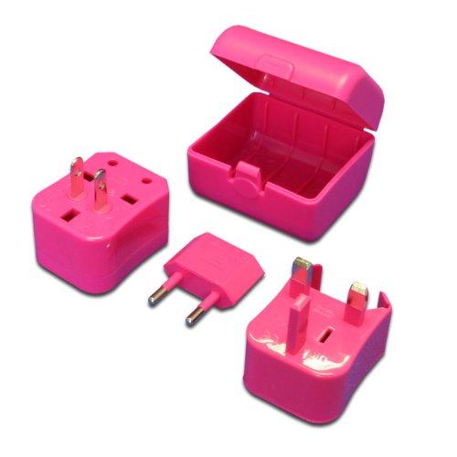 MaximalPower Pink Universal Travel Plug Power Outlet Socket Adapter Converter US UK EU AU