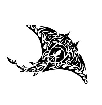 Tribal stingray Vinyl Decal Sticker (Black)