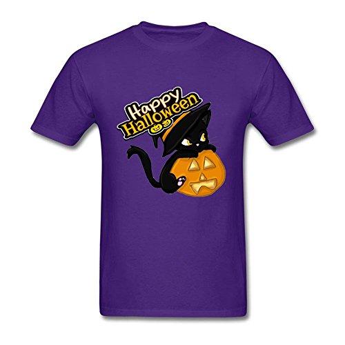 New Style Men's Halloween Cat Round Neck Short Sleeve T-Shirt Purple (Halloween Joke For Boyfriend)