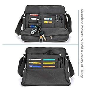 CHEREEKI Messenger Bag, Canvas Bag Shoulder Bag Satchel Bag with 26 Pockets – 12.6″(L) x 3.9″(W) x 10.6″(H)