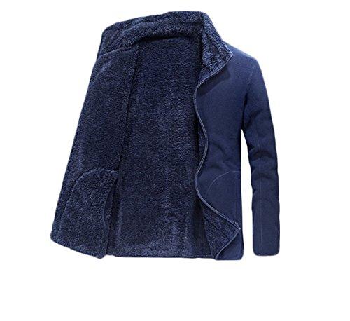Cappotto Con Cerniera Giacca xxl Lavoro blue Caldo Uomo In Classica Da Pile Addensato Formale Casual BAvPB1pr