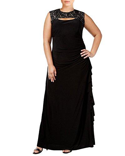 R&M Richards Lace Trim Cutout Draped Evening Gown Dress